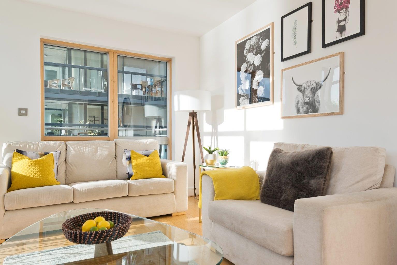 Living area at Longboat Quay, Docklands, Dublin