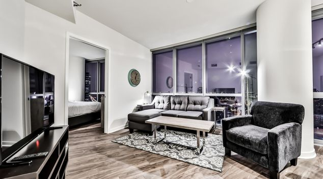 Living Room at 727 Madison Apartments, Greektown, Chicago