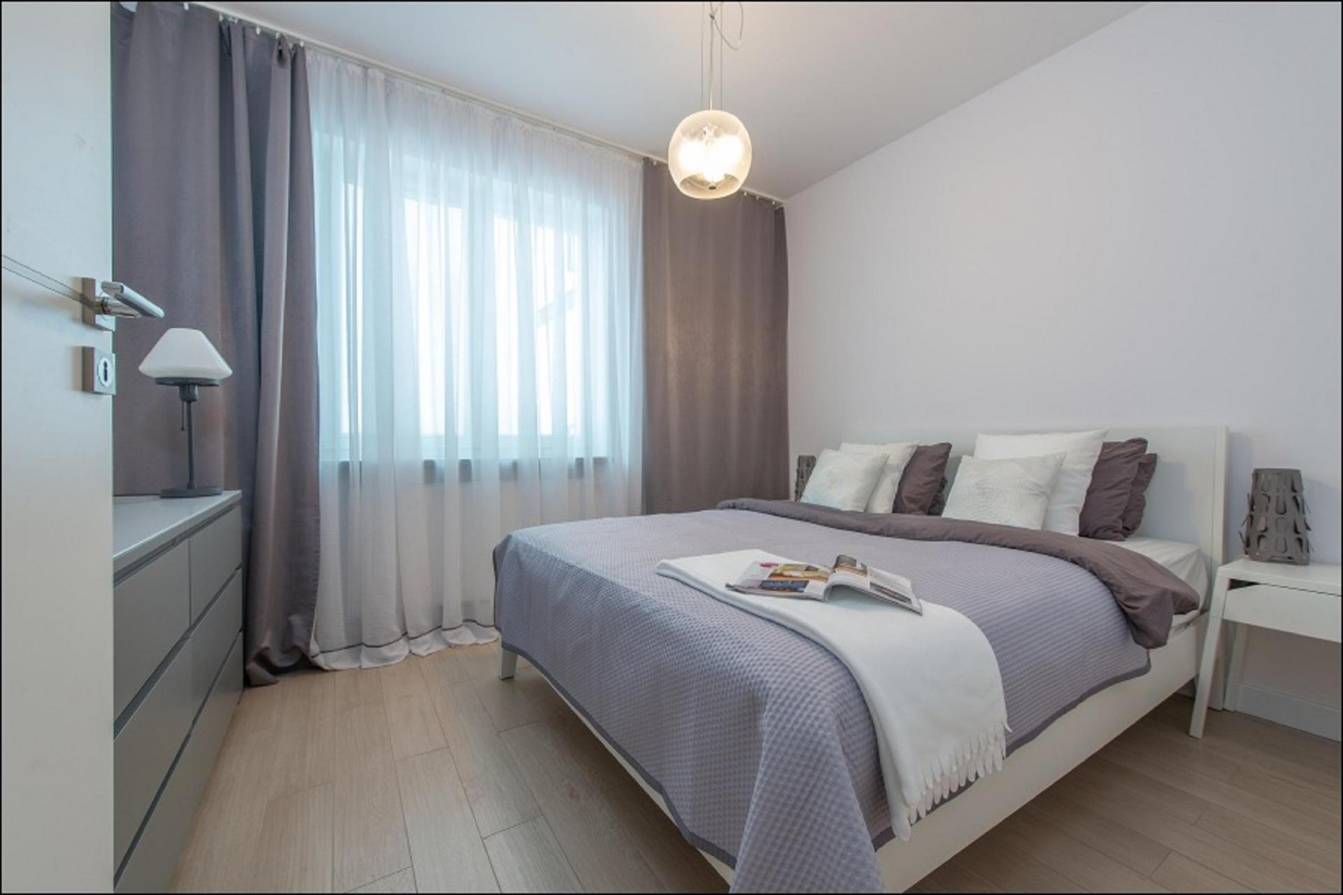 Bed at Piekna Apartment, Centre, Warsaw