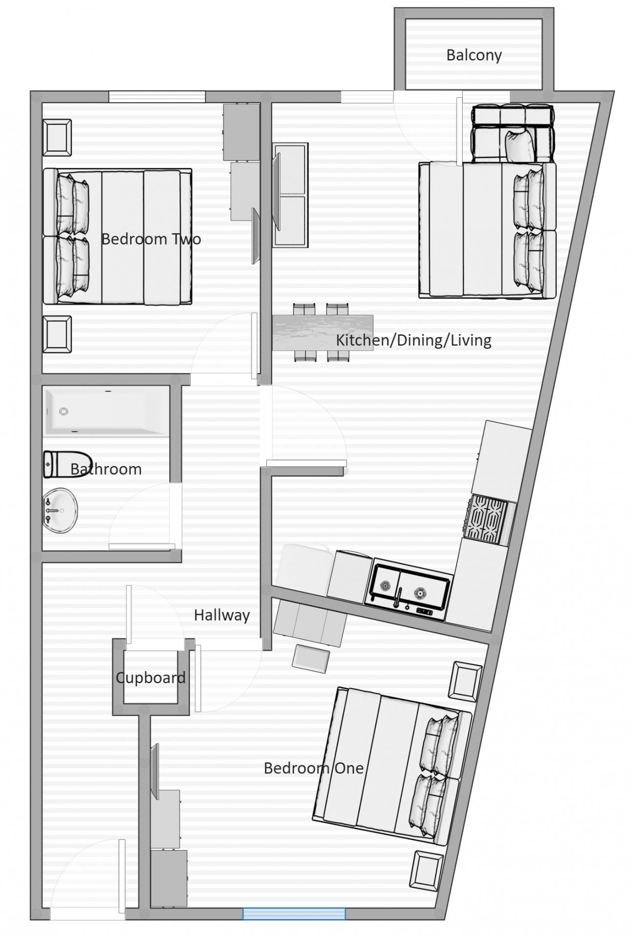 Floor plan at Kelham Island Apartment, Neepsend, Sheffield