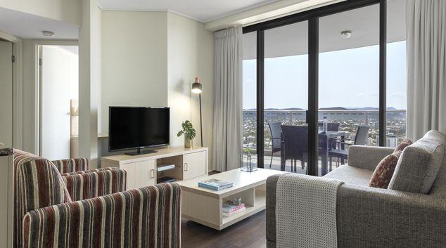 Living area at Oaks Aurora Apartments, Kangaroo Point, Brisbane