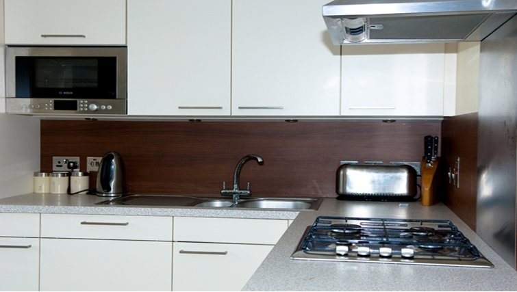 Stylish kitchen in Customs House Apartments