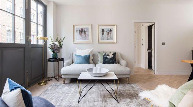 Living area at Rainsford Mews, Paddington, London