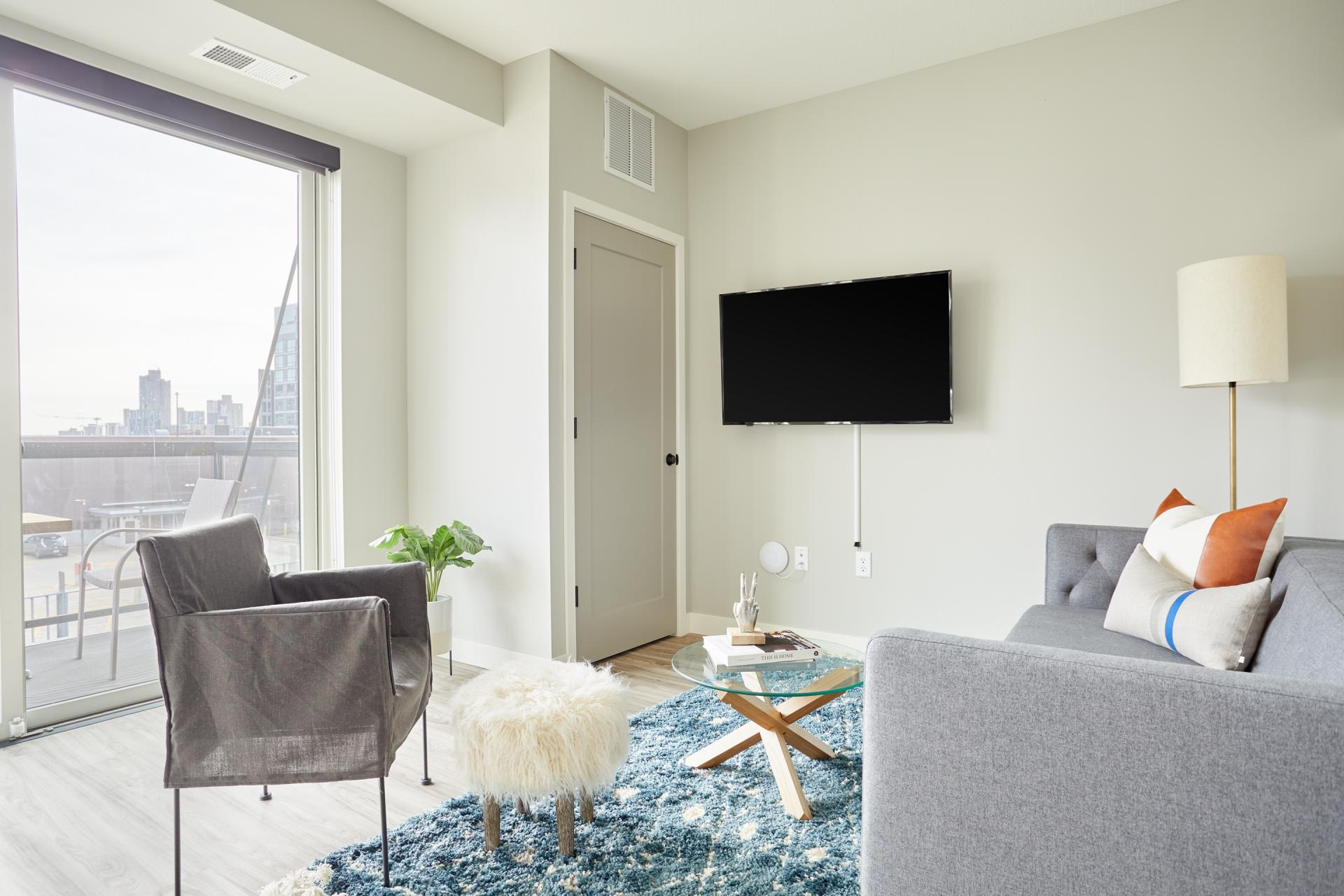 Living room at Vicinity Apartments, Centre, Minneapolis