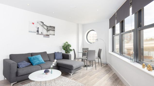 Living room at Fulham 2 Road Apartments, Fulham, London