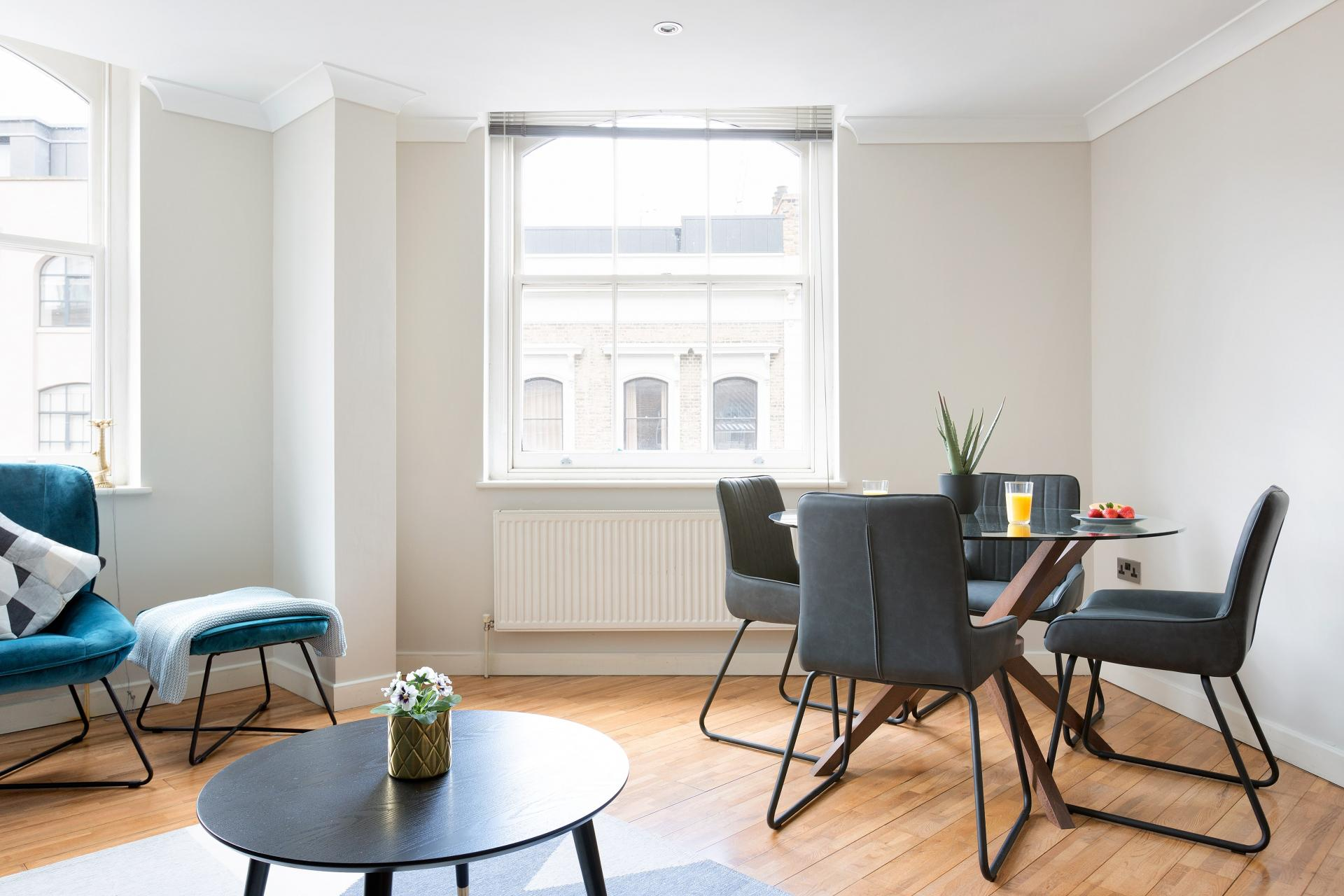 Dining area at Heart of Shoreditch Apartments, Whitechapel, London