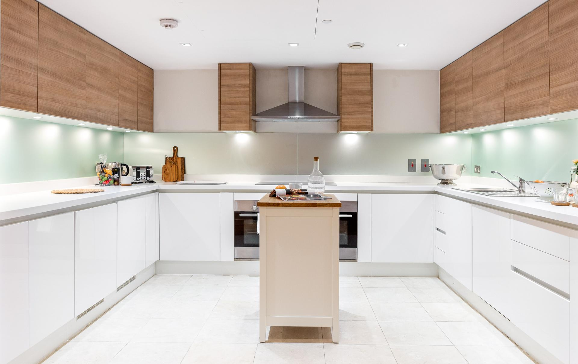 Modern kitchen at Meritas Court Apartments, Bayswater, London