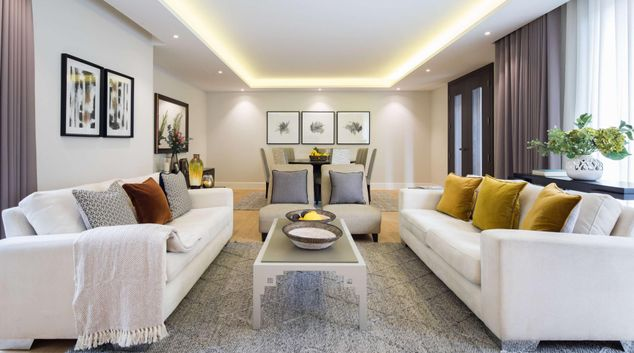 Living area at Logan Place Apartments, Kensington, London