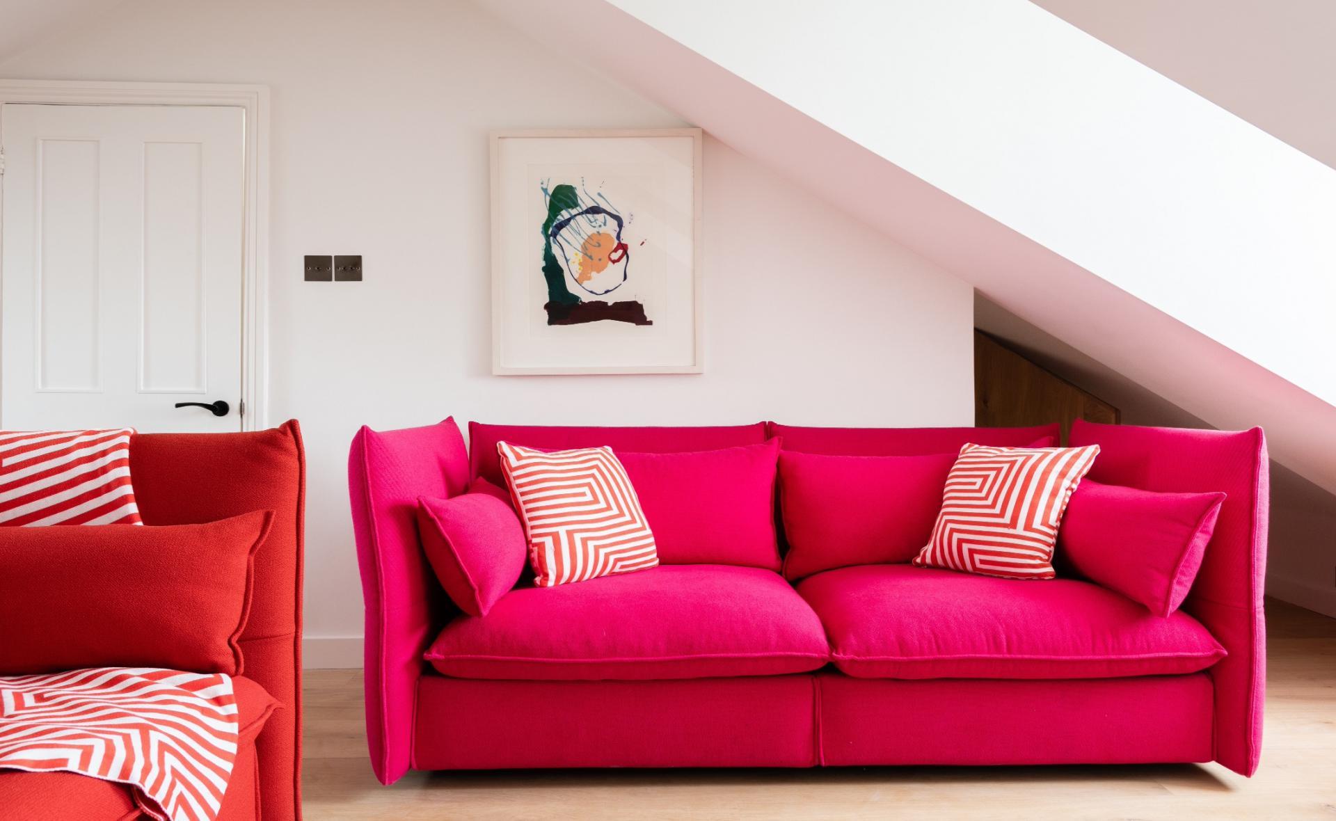 Red sofa at Lansdowne Crescent Apartment, Holland Park, London