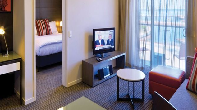 Spacious living area in Adina Apartment Hotel Darwin Waterfront