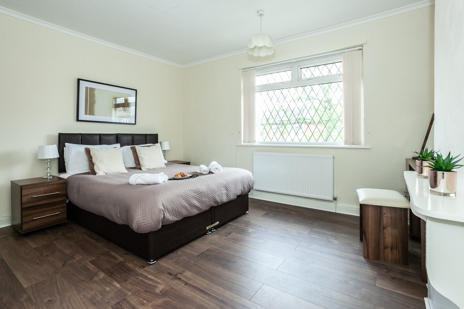 Bright bedroom at St Pius House, Dunkinfield, Manchester