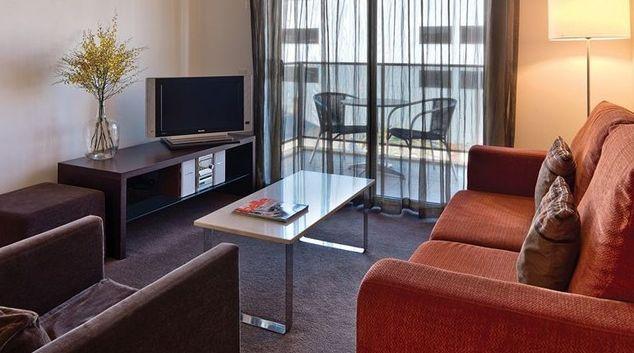 Tidy living area in Adina Apartment Hotel Perth, Barrack Plaza