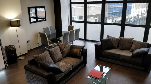 Living area at Alice Street Apartments, Whitechapel, London