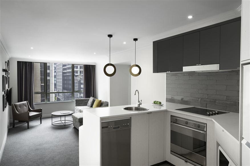 Kitchen at Mantra 2 Bond Street, Centre, Sydney