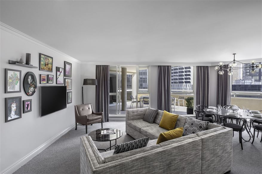 Living area at Mantra 2 Bond Street, Centre, Sydney