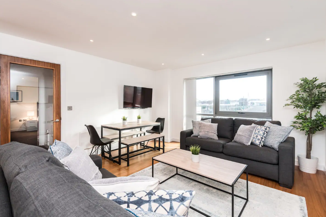 Living area at Waterside Apartment, Vauxhall, Liverpool