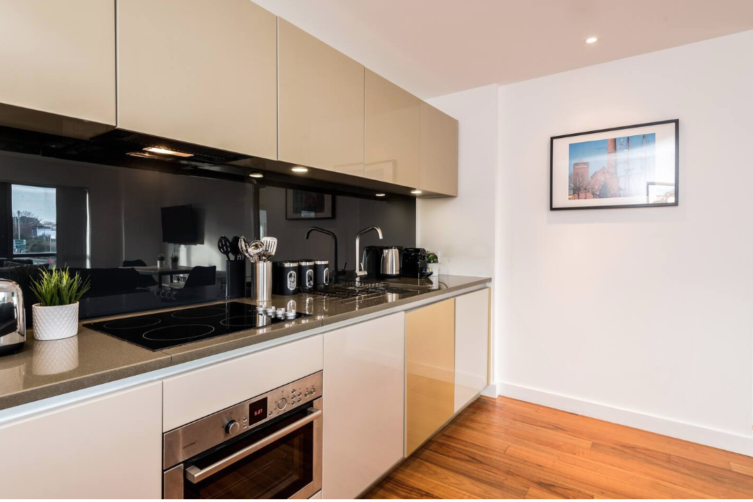 Kitchen at Waterside Apartment, Vauxhall, Liverpool