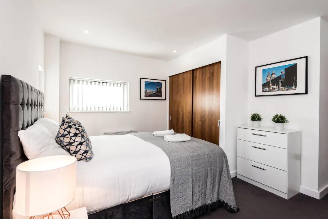 Bedroom at Waterside Apartment, Vauxhall, Liverpool