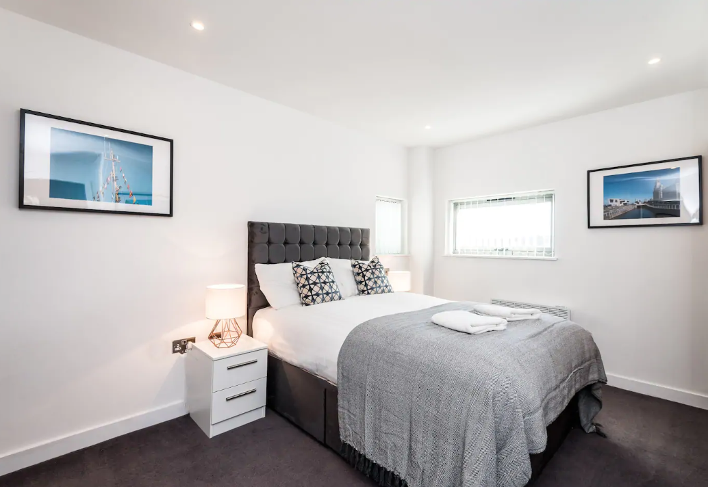 Bed at Waterside Apartment, Vauxhall, Liverpool
