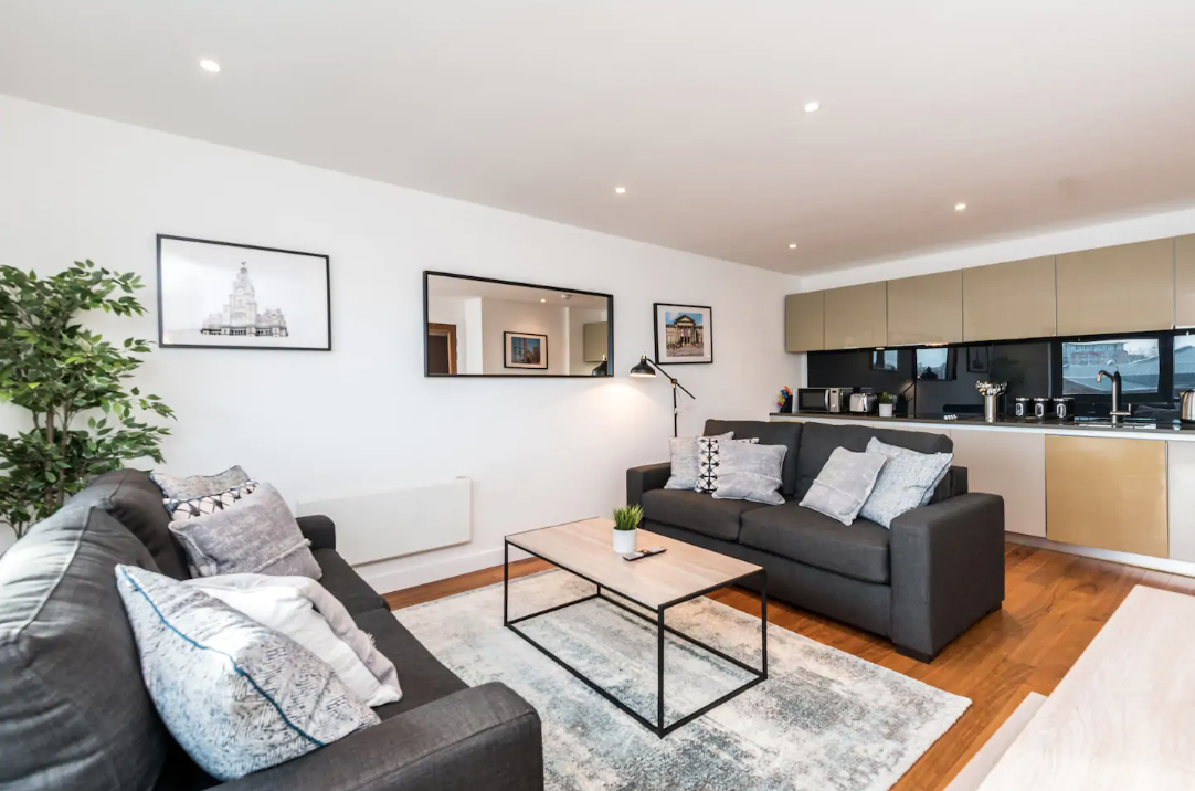 Open-plan at Waterside Apartment, Vauxhall, Liverpool