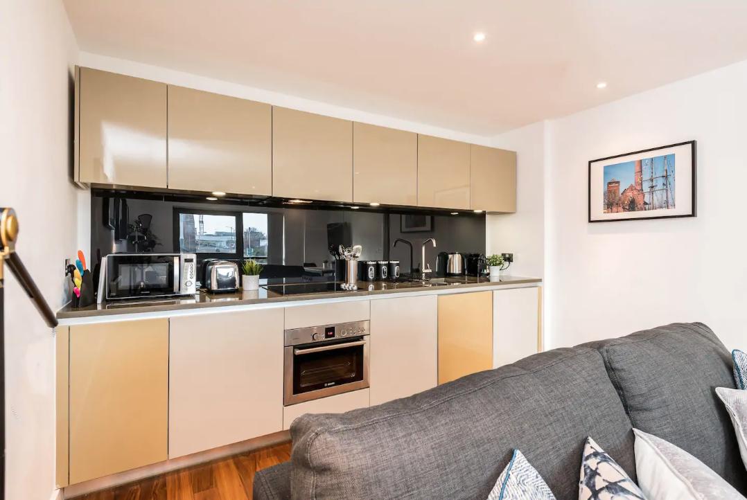 Modern kitchen at Waterside Apartment, Vauxhall, Liverpool