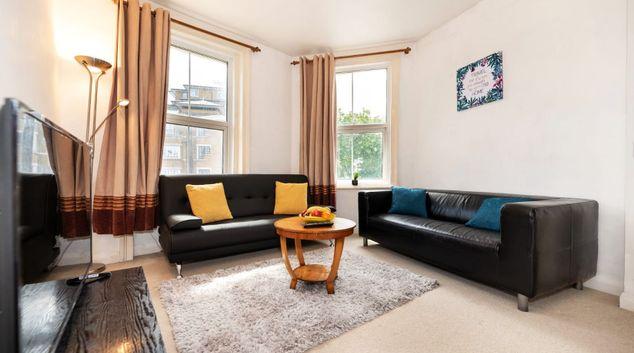 Living room at Sutherland Apartment, Maida Vale, London