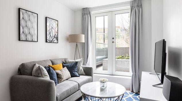 Living room at Sinclair Road Apartments, Hammersmith, London