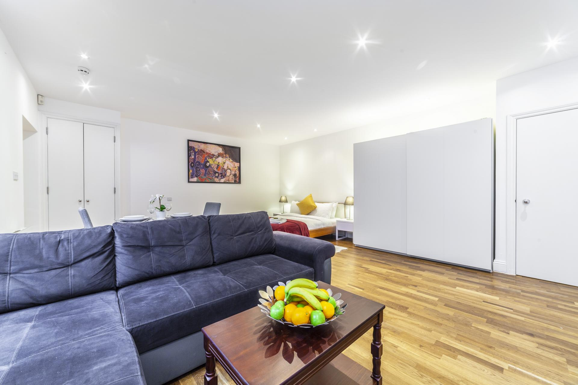 Living area at Devonshire Terrace Apartments, Bayswater, London