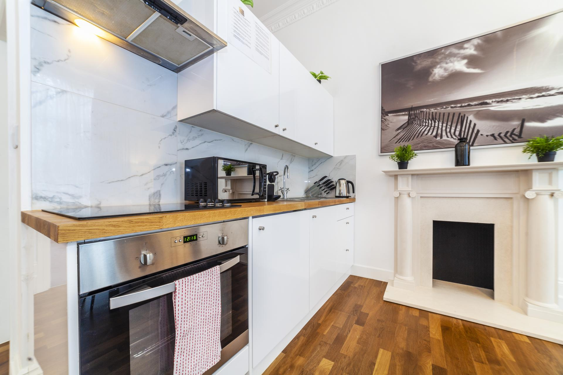 Modern kitchen at Devonshire Terrace Apartments, Bayswater, London