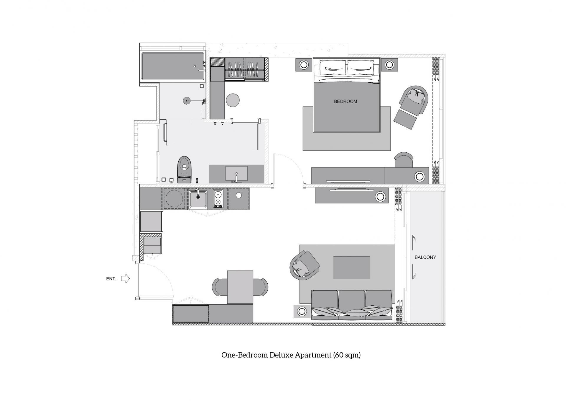One-Bedroom Deluxe at Oakwood Suites Bangkok, Khlong Tan, Bangkok