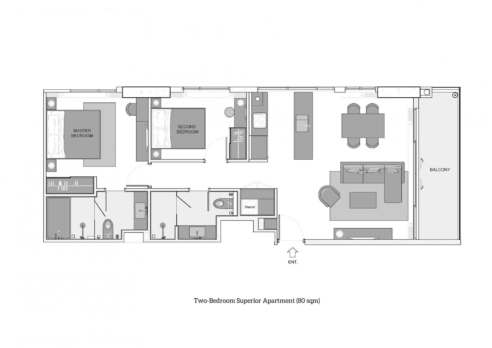 Two-Bedroom Superior at Oakwood Suites Bangkok, Khlong Tan, Bangkok