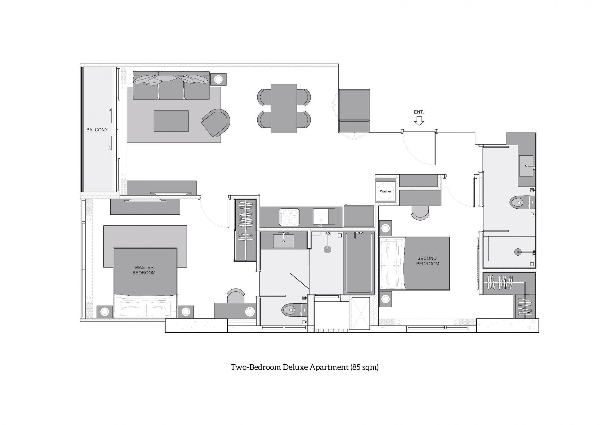 Two-Bedroom Deluxe at Oakwood Suites Bangkok, Khlong Tan, Bangkok