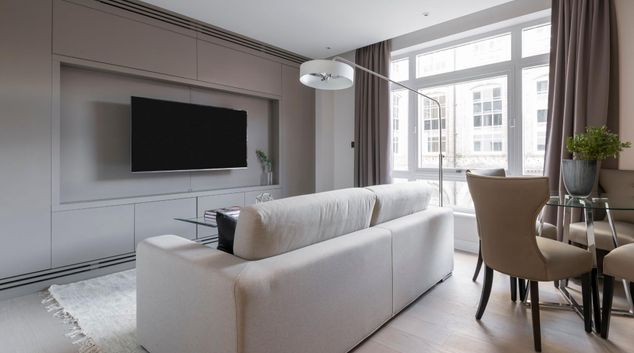 Living area at King's Scholars Apartments, Westminster, London