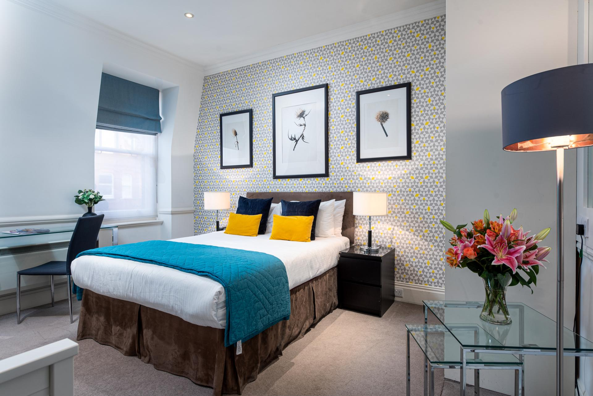 Bed at Draycott Place Serviced Apartments, Chelsea, London