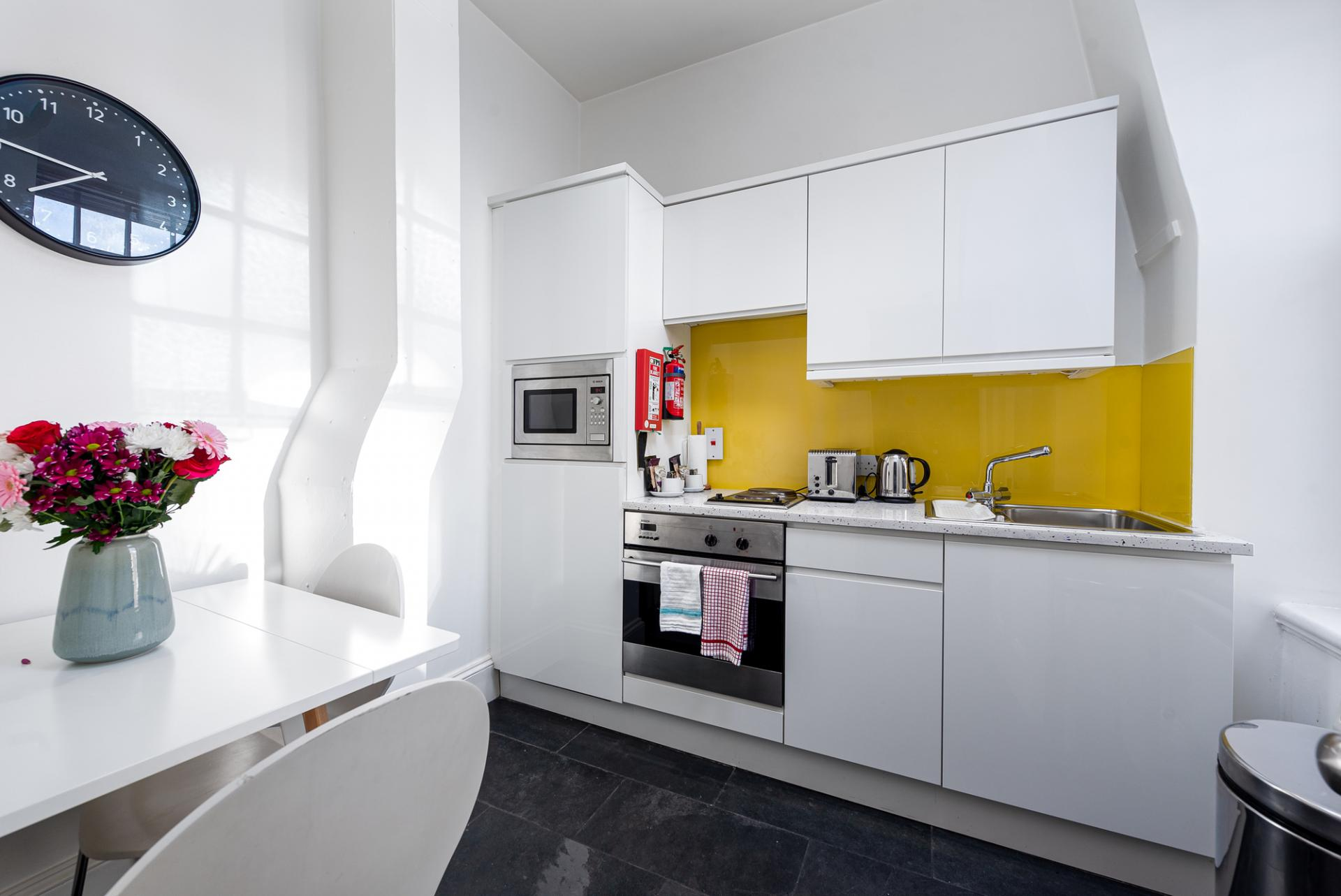Kitchen at Draycott Place Serviced Apartments, Chelsea, London