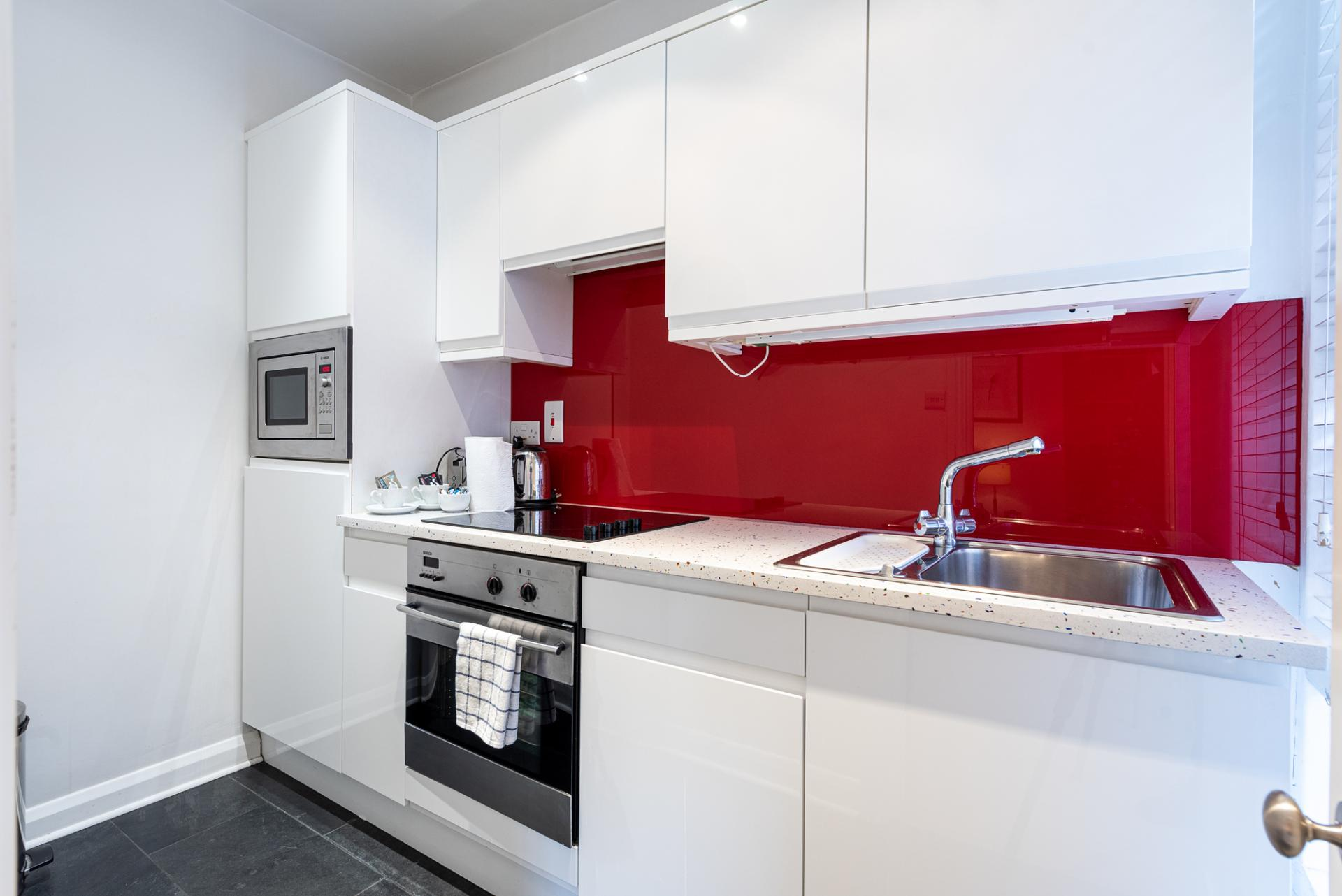 Modern kitchen at Draycott Place Serviced Apartments, Chelsea, London