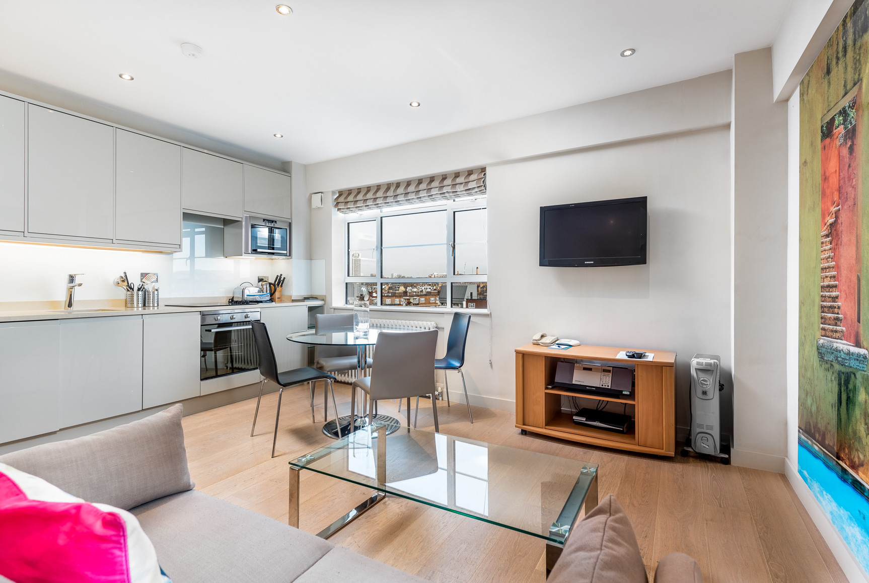 Open plan space at Nell Gwynn House Accommodation, Chelsea, London