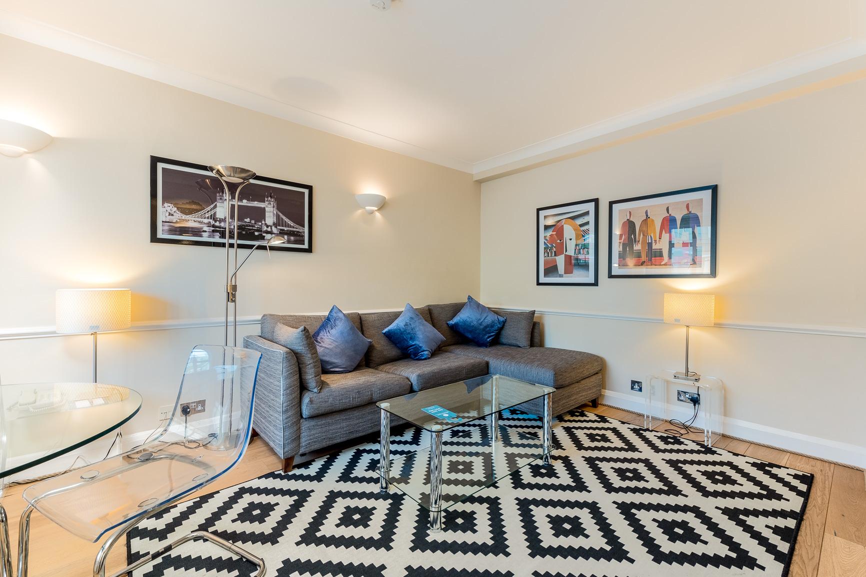 Sofa at Nell Gwynn House Accommodation, Chelsea, London