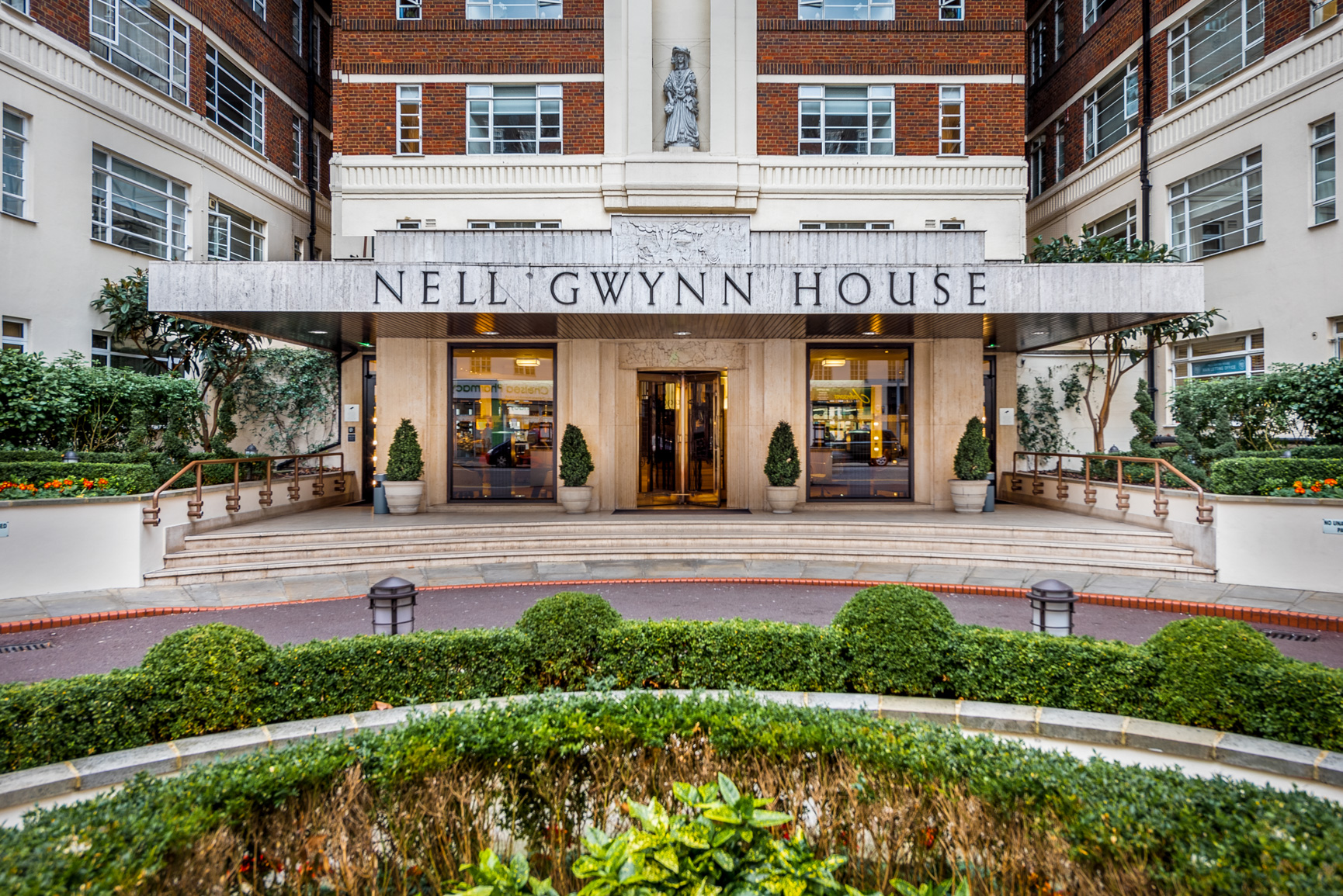 Entrance to Nell Gwynn House Accommodation, Chelsea, London