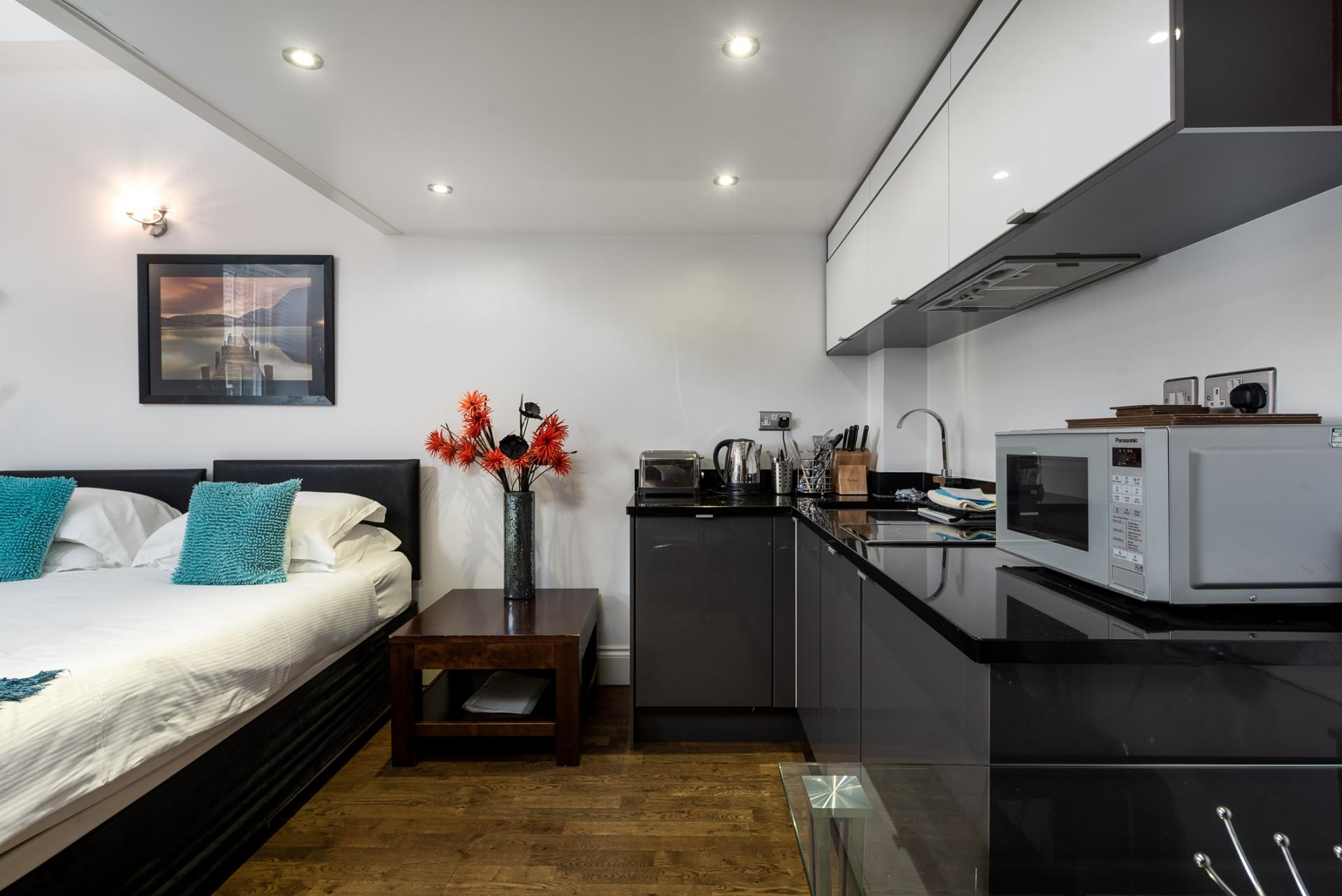 Modern kitchen at Chelsea Green Apartments, Chelsea, London