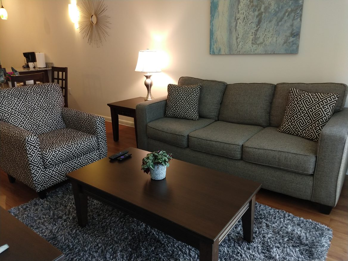 Living area at IMT at the Domain, North Burnet, Austin
