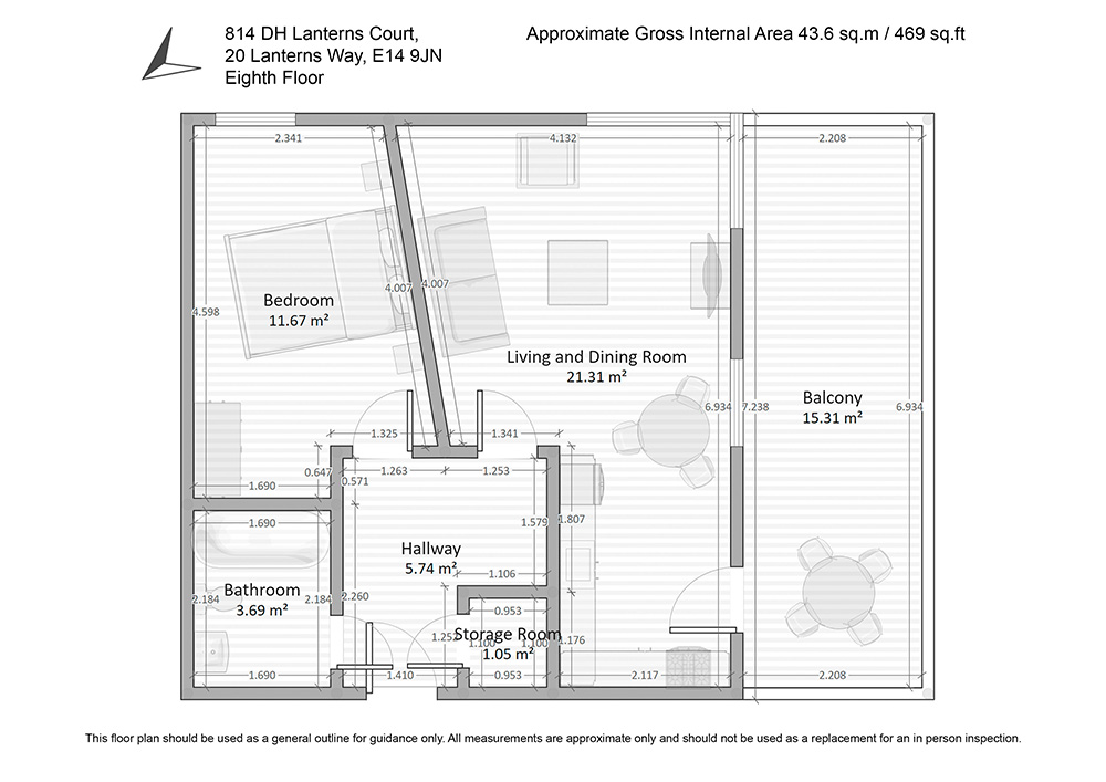 Floor plan of Lanterns Court, Canary Wharf, London