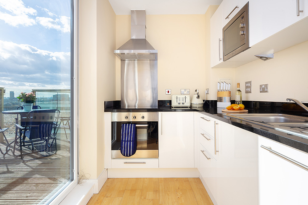 Kitchen at Lanterns Court, Canary Wharf, London