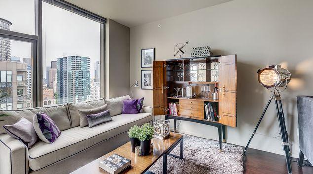 Living room at Via6 Apartment, Belltown, Seattle