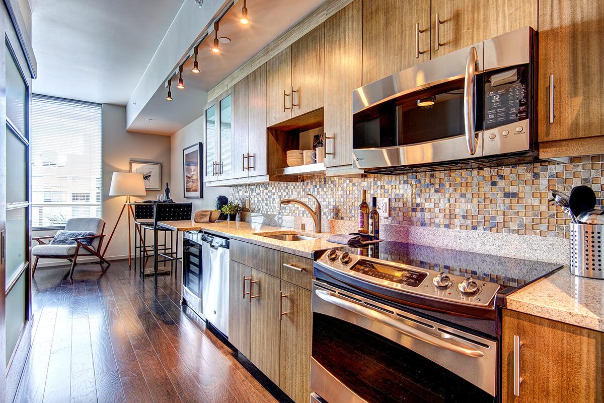 Kitchen at Via6 Apartment, Belltown, Seattle