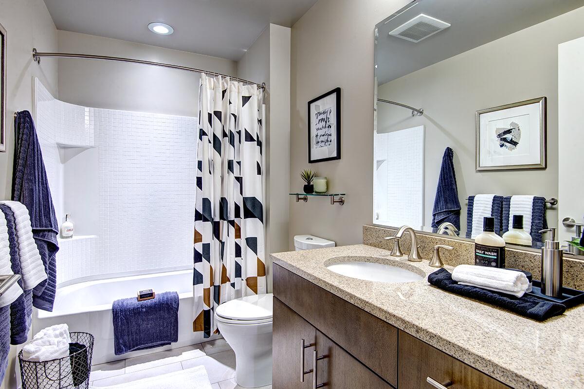 Bathroom at Via6 Apartment, Belltown, Seattle