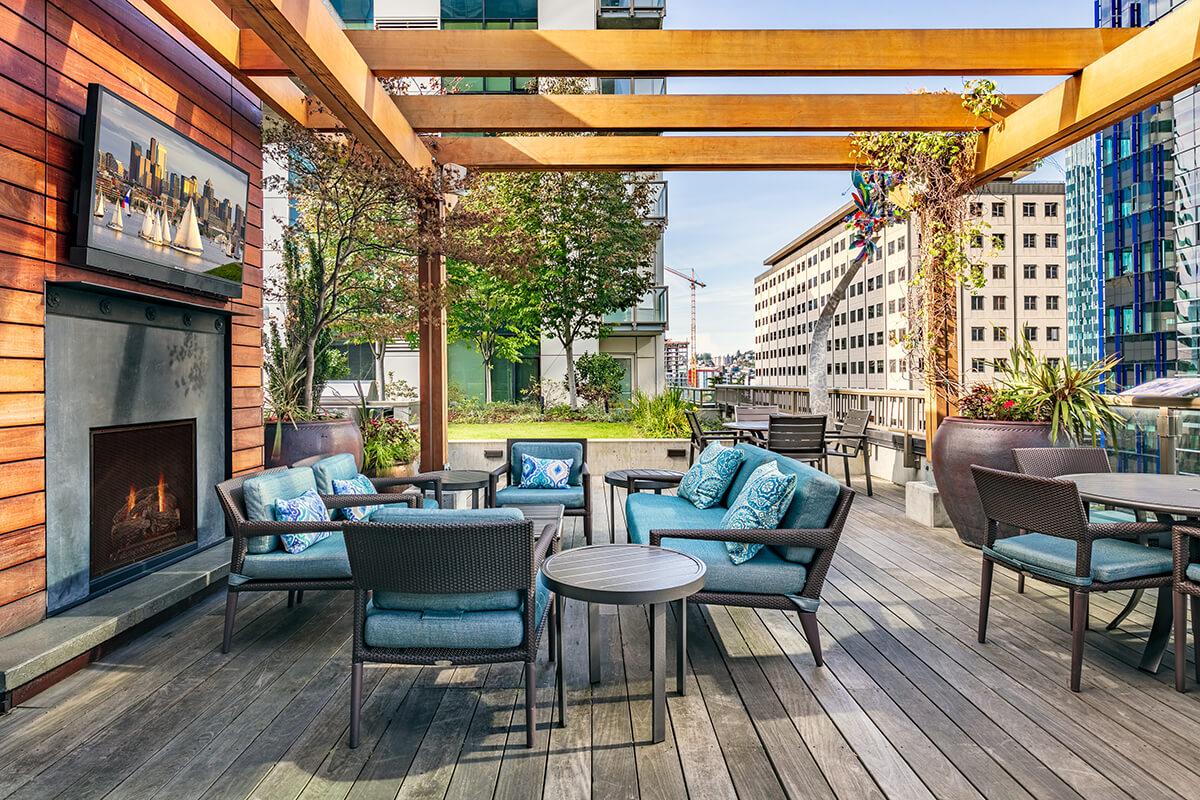 Outside deck at Via6 Apartment, Belltown, Seattle