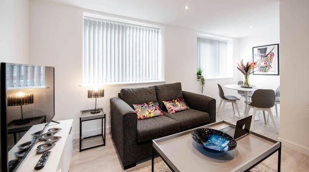 Living area at Windmill House Apartments, Lytham, Lytham St Annes