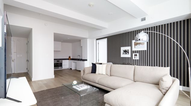 Kitchen at One Platt Apartments, Manhattan, New York