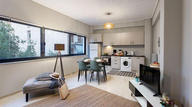 Living area at Urban City Apartments, Pl. Koliatsou, Athens